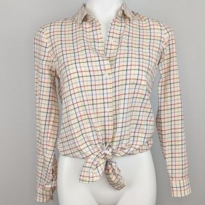 Madewell | rainbow plaid tie front button up | XXS